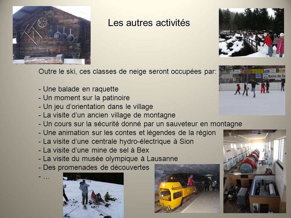 Les autres activités Outre le ski, ces classes de neige seront occupées par: Une balade en raquette.