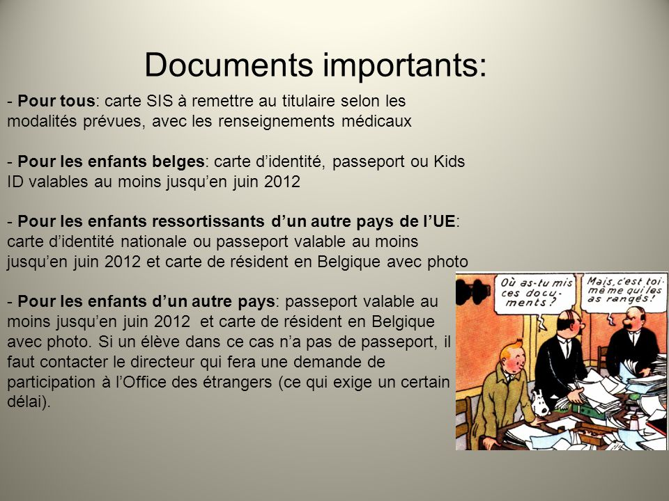 Documents importants: