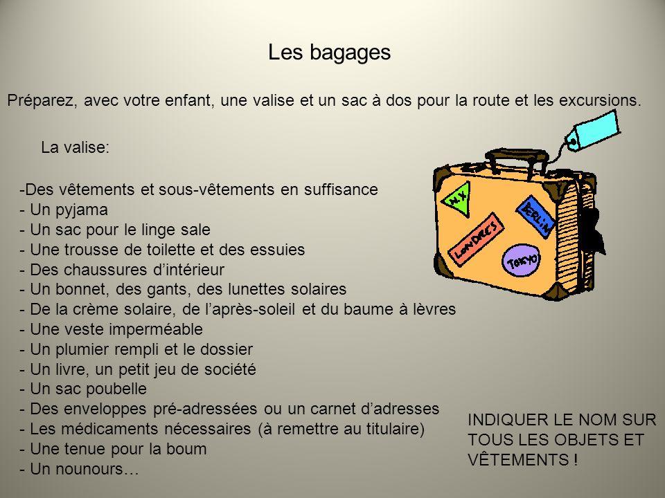 Les bagages Préparez, avec votre enfant, une valise et un sac à dos pour la route et les excursions.