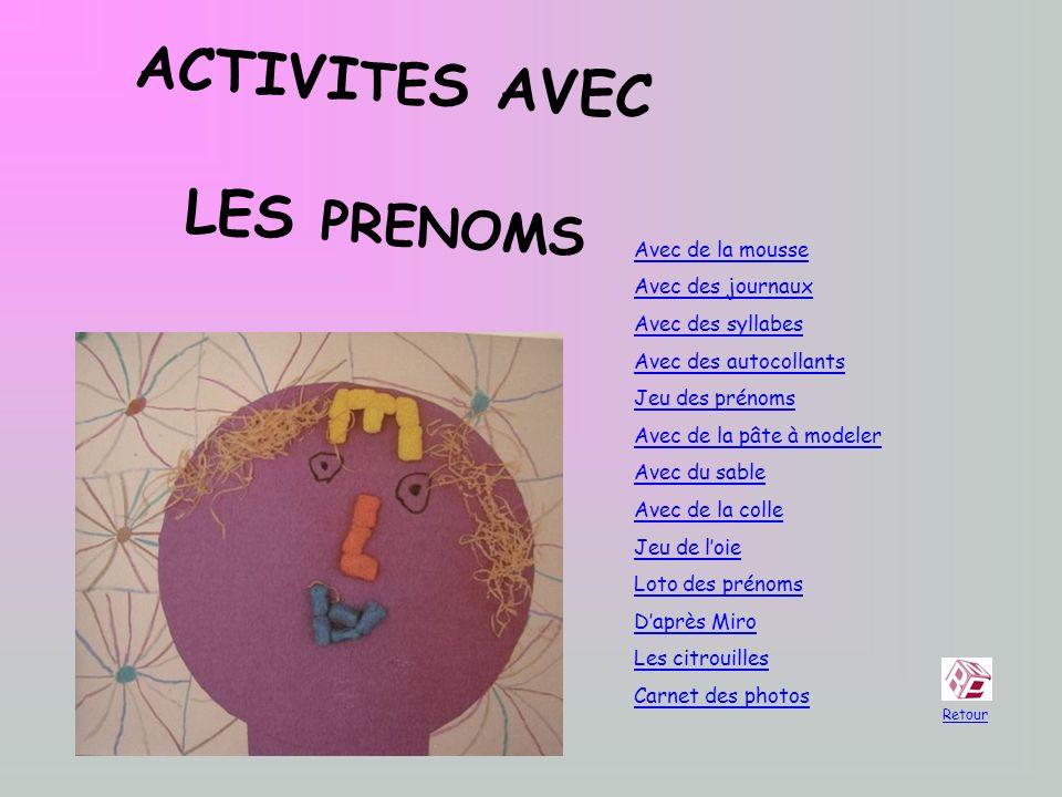 ACTIVITES AVEC LES PRENOMS