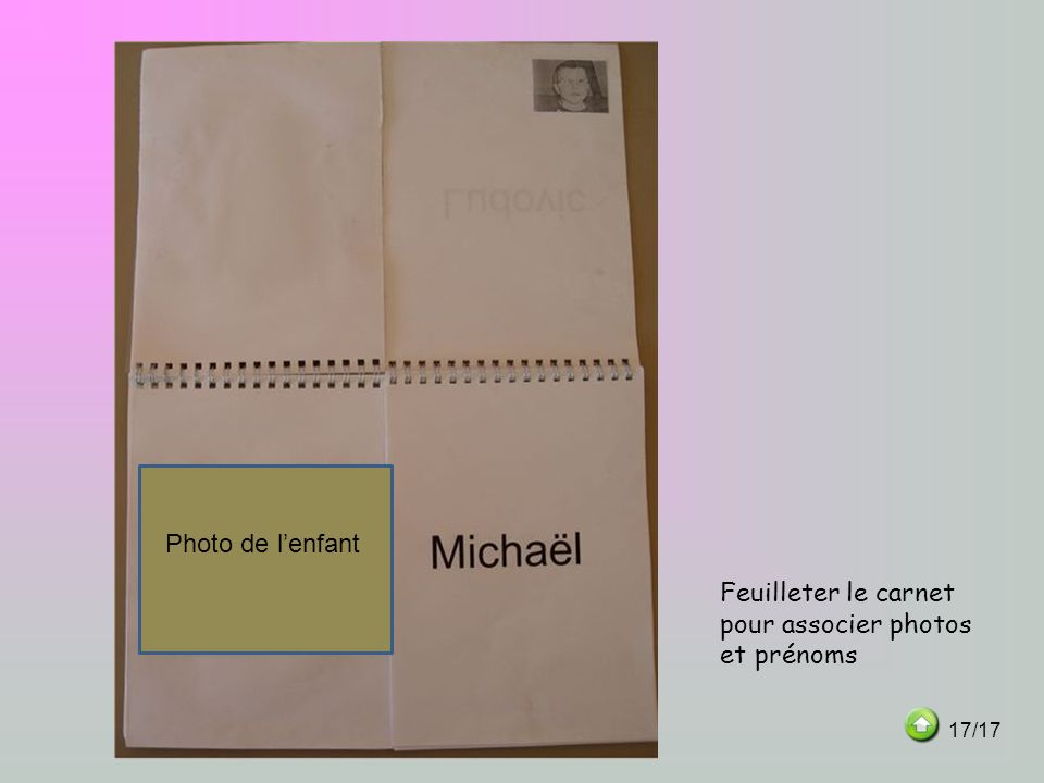 Feuilleter le carnet pour associer photos et prénoms