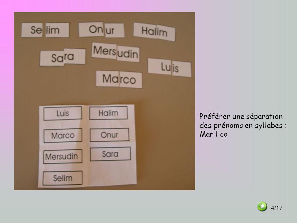 Préférer une séparation des prénoms en syllabes : Mar l co