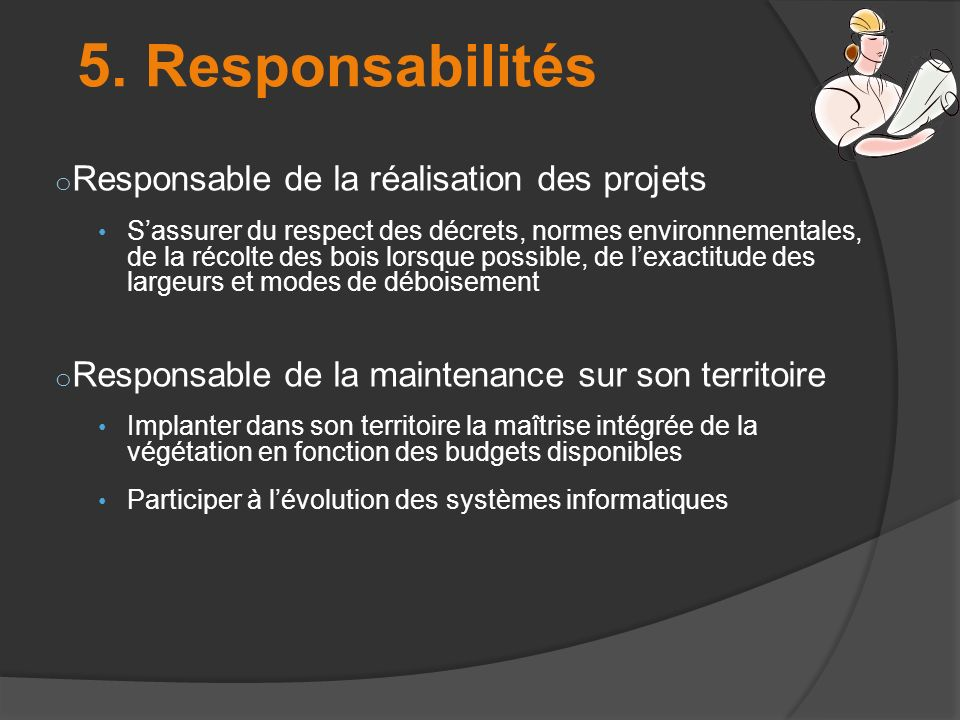 5. Responsabilités Responsable de la réalisation des projets