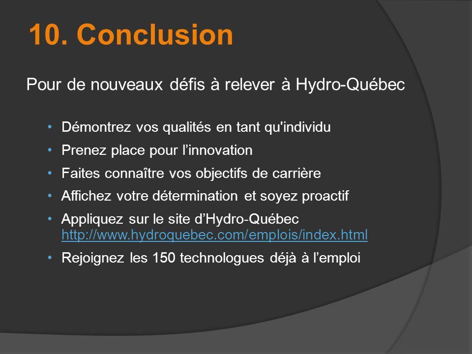 10. Conclusion Pour de nouveaux défis à relever à Hydro-Québec