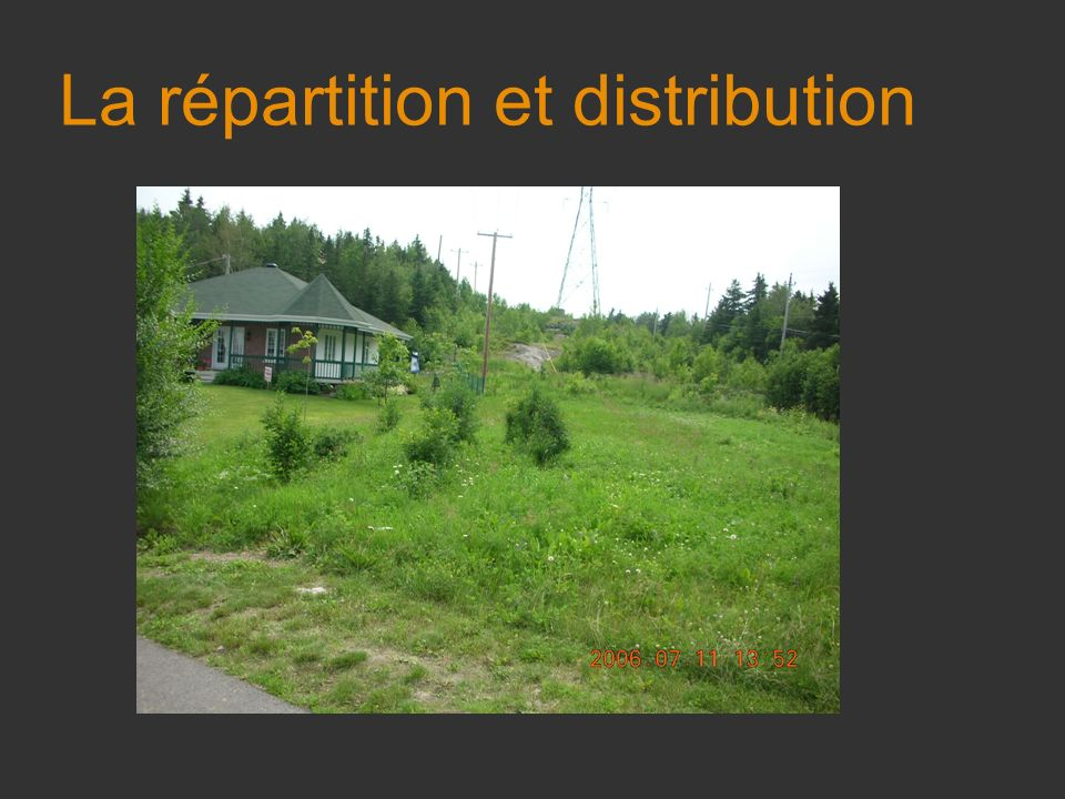 La répartition et distribution