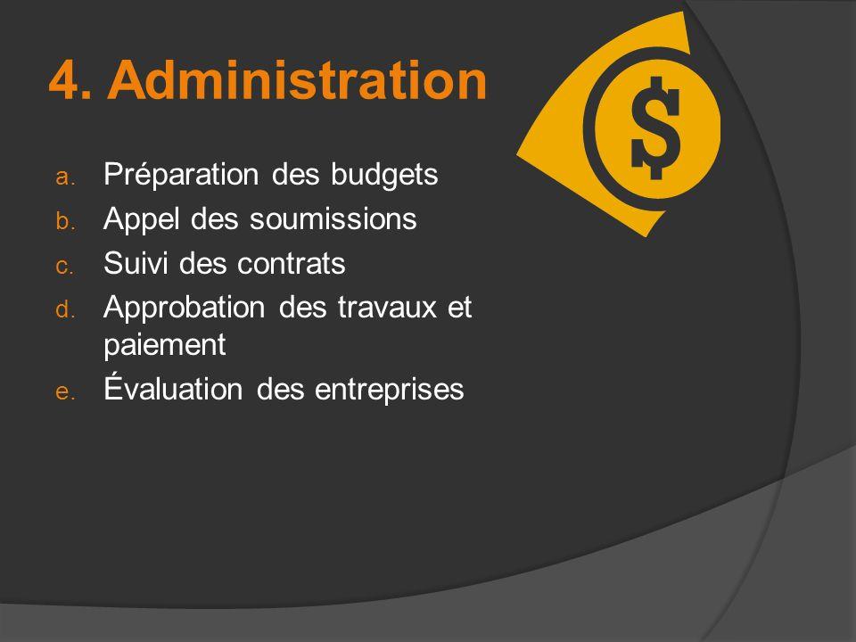 4. Administration Préparation des budgets Appel des soumissions