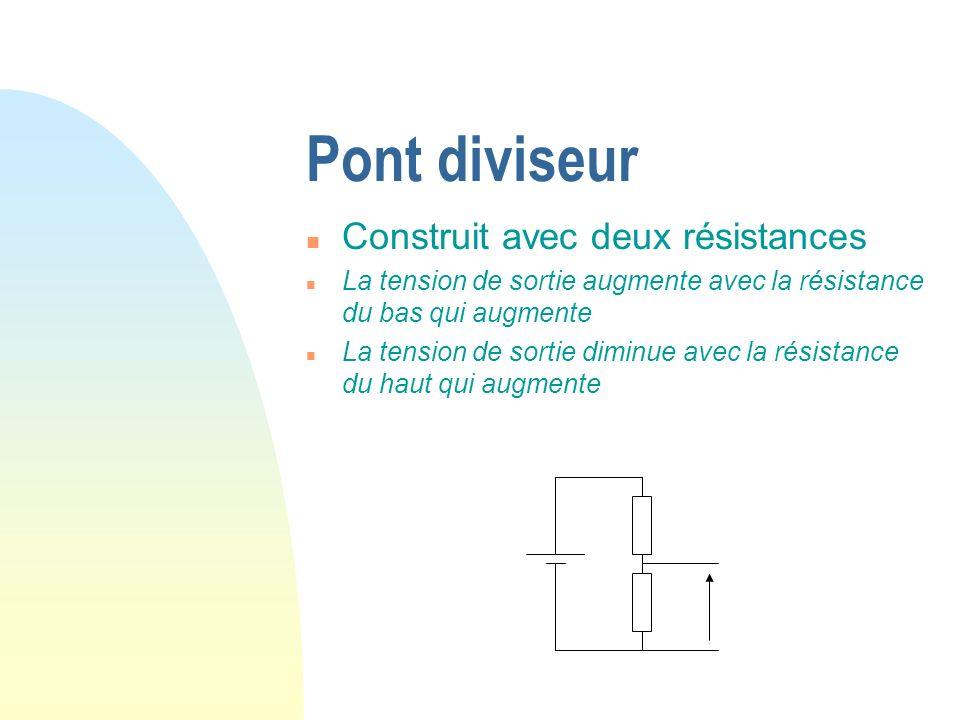 Pont diviseur Construit avec deux résistances