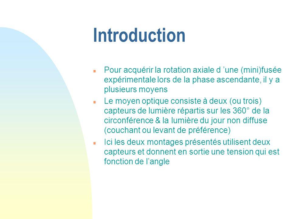 Introduction Pour acquérir la rotation axiale d 'une (mini)fusée expérimentale lors de la phase ascendante, il y a plusieurs moyens.
