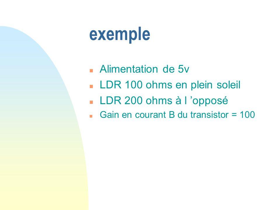 exemple Alimentation de 5v LDR 100 ohms en plein soleil