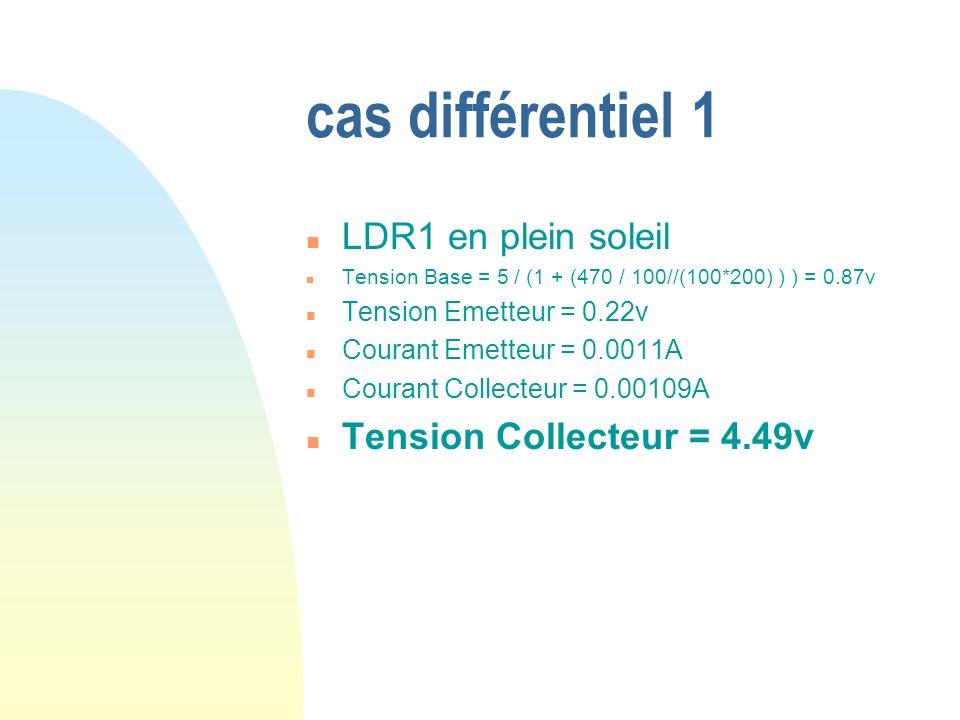cas différentiel 1 LDR1 en plein soleil Tension Collecteur = 4.49v