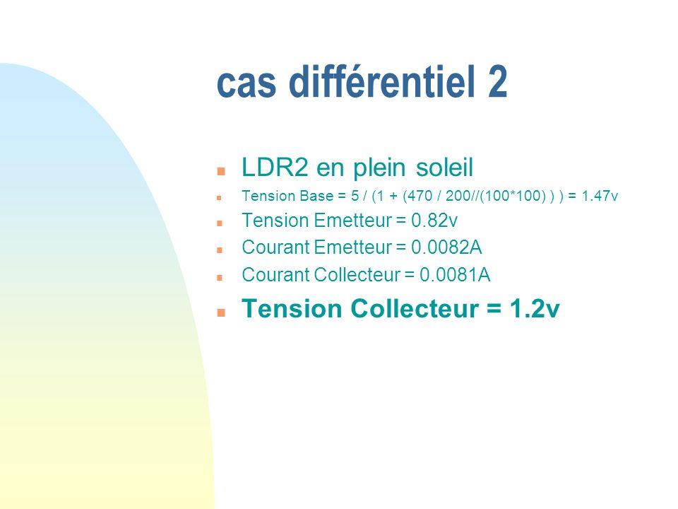 cas différentiel 2 LDR2 en plein soleil Tension Collecteur = 1.2v