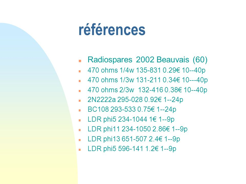 références Radiospares 2002 Beauvais (60)