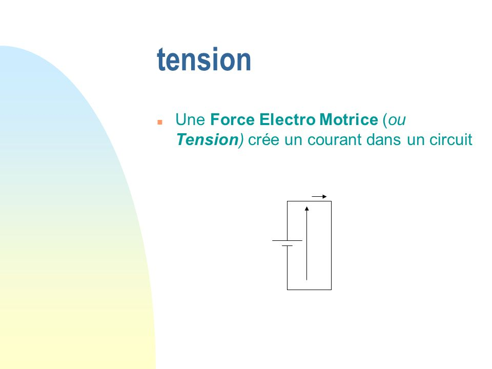 tension Une Force Electro Motrice (ou Tension) crée un courant dans un circuit