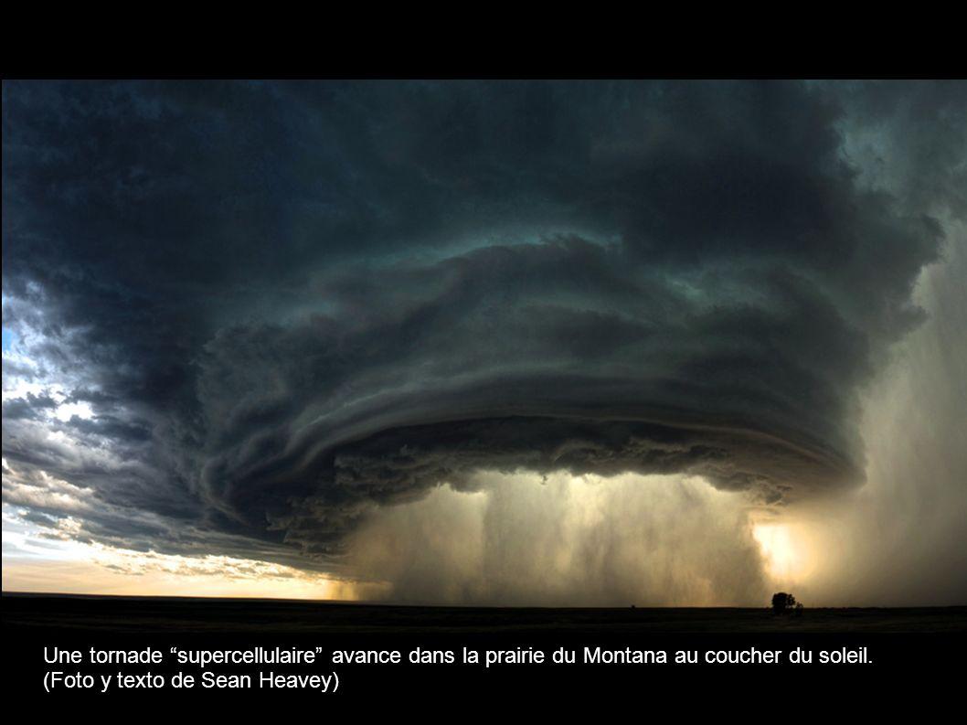 Une tornade supercellulaire avance dans la prairie du Montana au coucher du soleil.