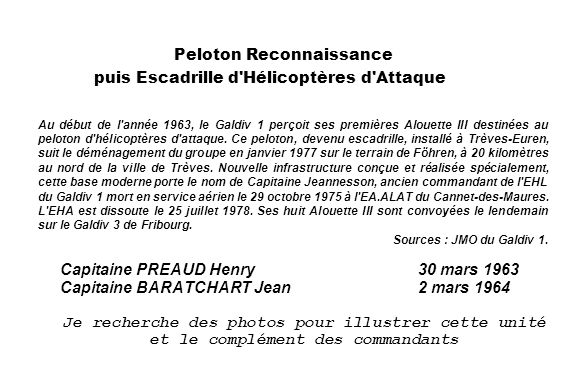 Peloton Reconnaissance puis Escadrille d Hélicoptères d Attaque