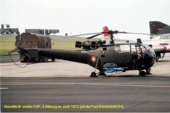 Alouette III codée CVP, à Bitburg en août 1972 (photo Paul BANNWARTH).