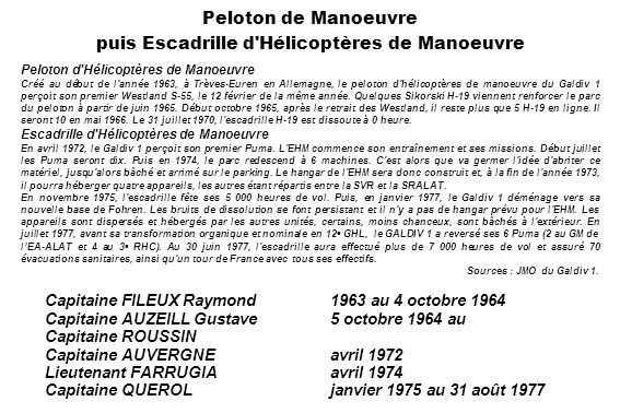 Peloton de Manoeuvre puis Escadrille d Hélicoptères de Manoeuvre