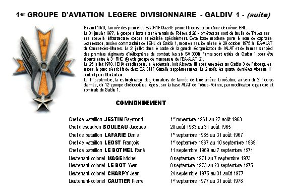 1er GROUPE D AVIATION LEGERE DIVISIONNAIRE - GALDIV 1 - (suite)