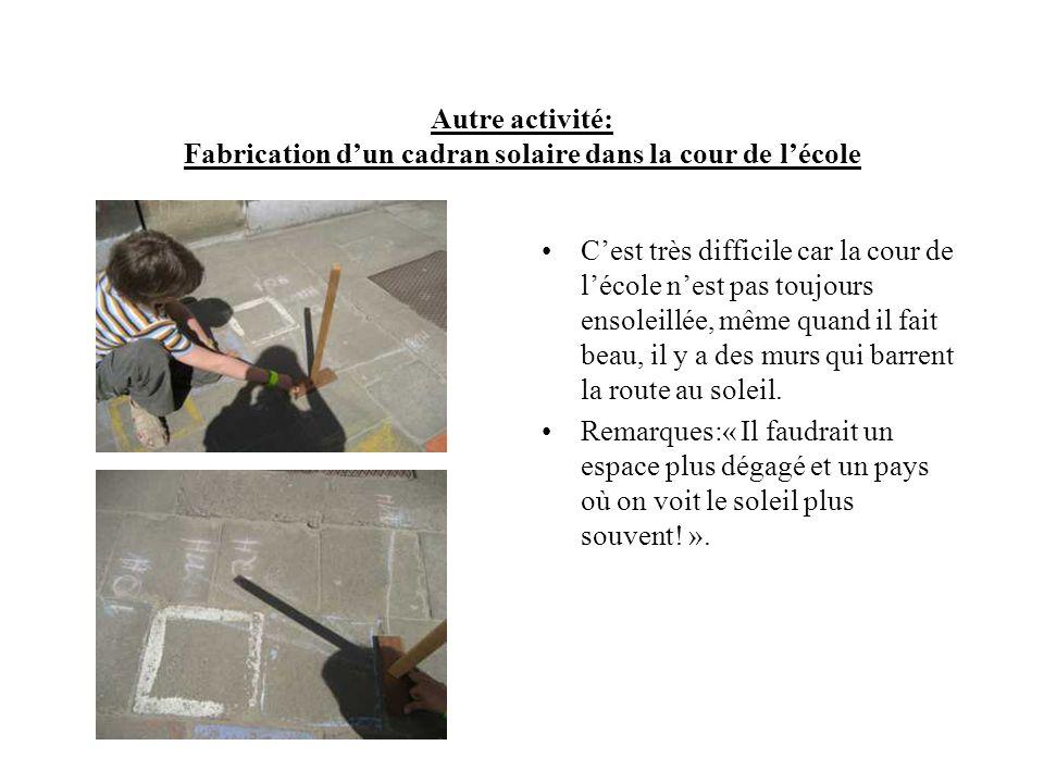 Autre activité: Fabrication d'un cadran solaire dans la cour de l'école