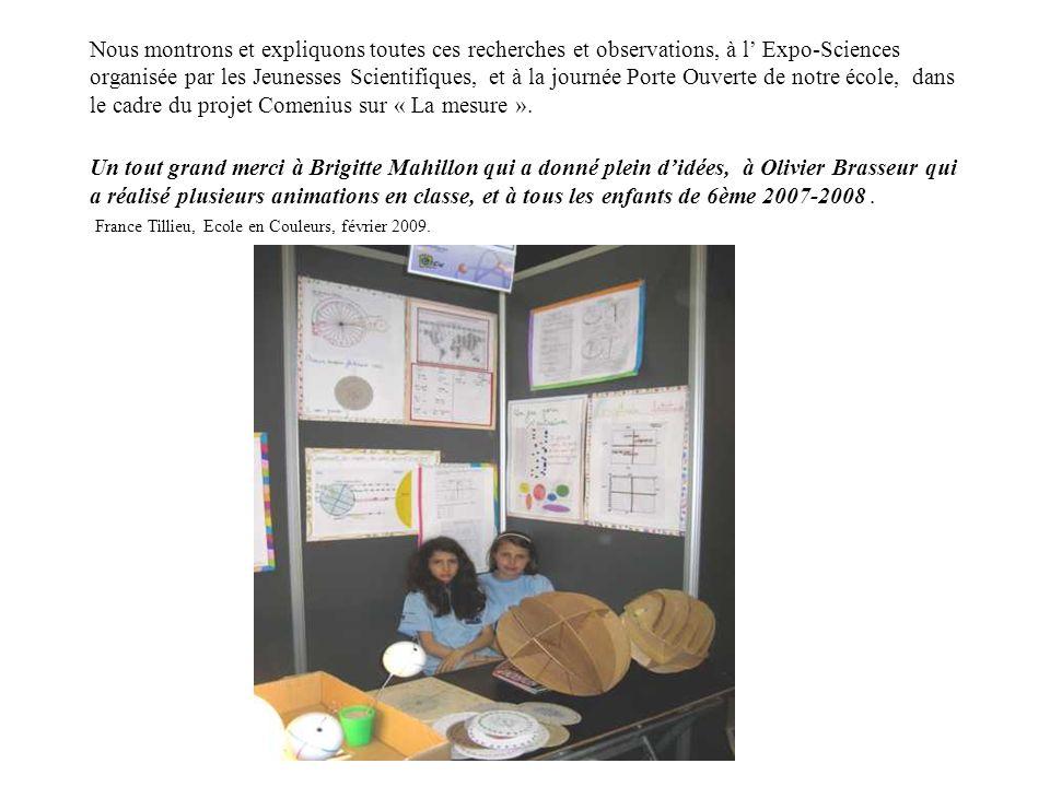 Nous montrons et expliquons toutes ces recherches et observations, à l' Expo-Sciences organisée par les Jeunesses Scientifiques, et à la journée Porte Ouverte de notre école, dans le cadre du projet Comenius sur « La mesure ».
