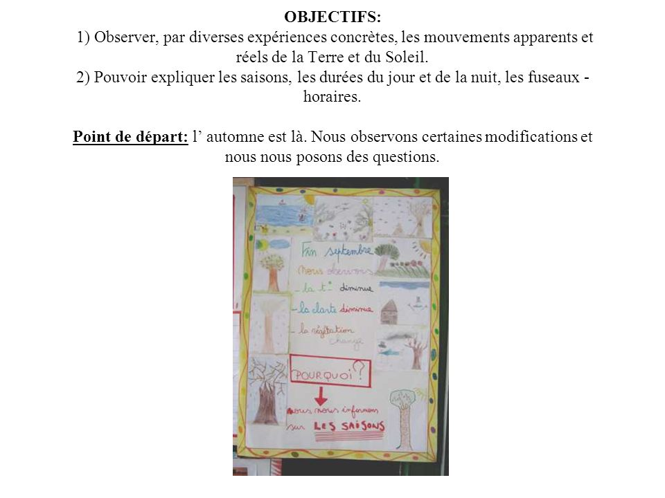 OBJECTIFS: 1) Observer, par diverses expériences concrètes, les mouvements apparents et réels de la Terre et du Soleil.