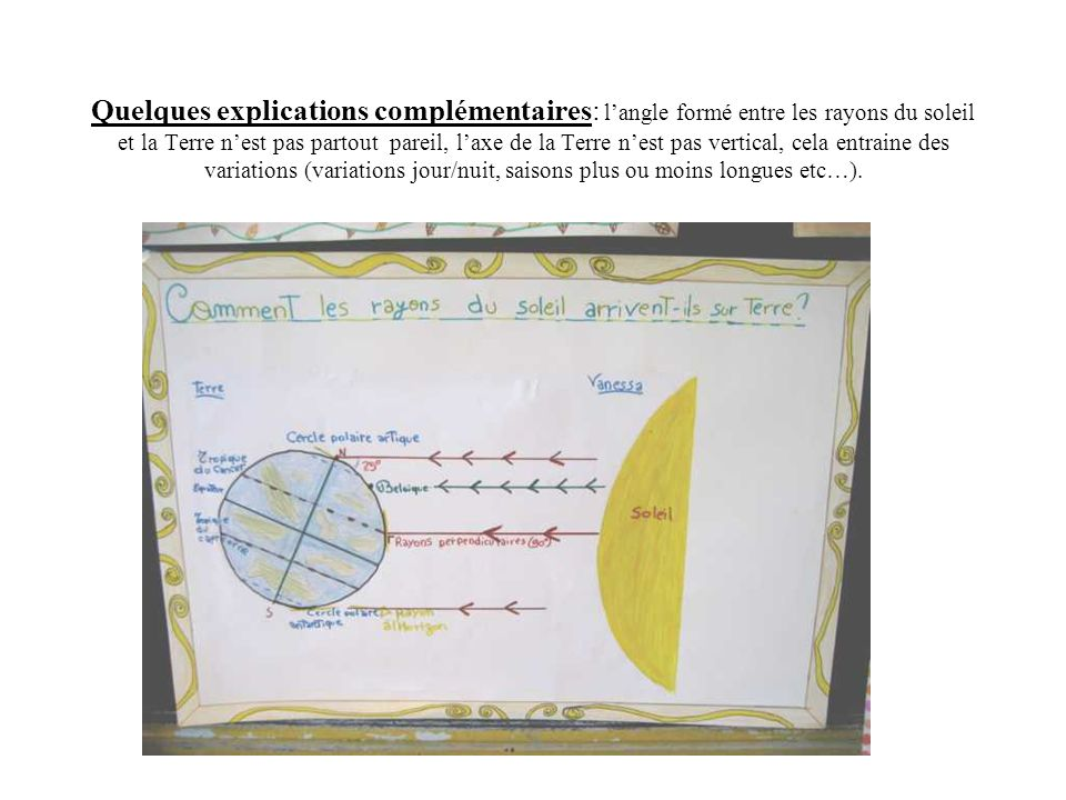 Quelques explications complémentaires: l'angle formé entre les rayons du soleil et la Terre n'est pas partout pareil, l'axe de la Terre n'est pas vertical, cela entraine des variations (variations jour/nuit, saisons plus ou moins longues etc…).