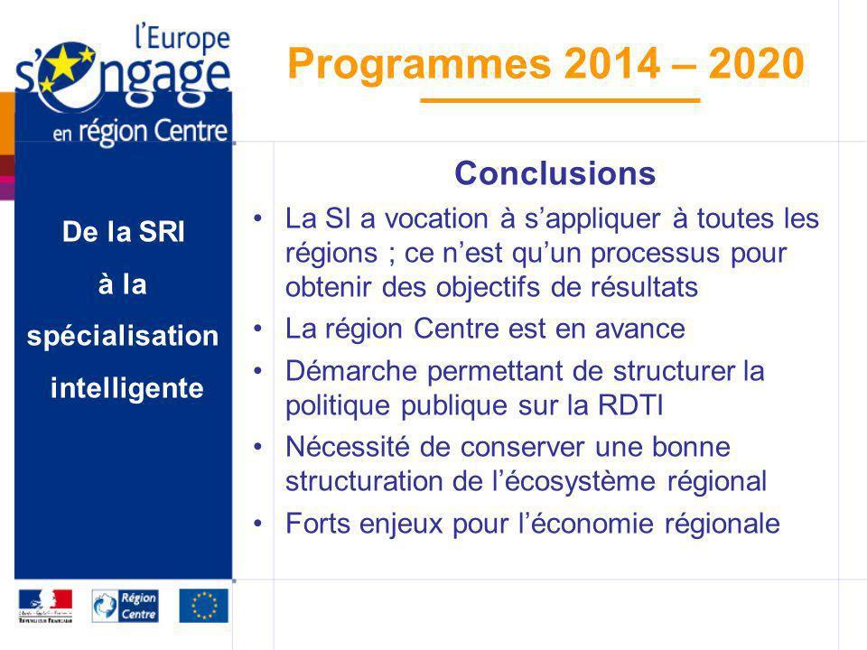 ConclusionsLa SI a vocation à s'appliquer à toutes les régions ; ce n'est qu'un processus pour obtenir des objectifs de résultats.