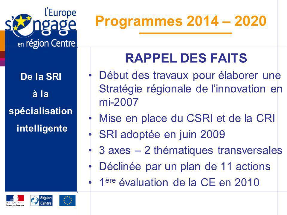 RAPPEL DES FAITS Début des travaux pour élaborer une Stratégie régionale de l'innovation en mi-2007.