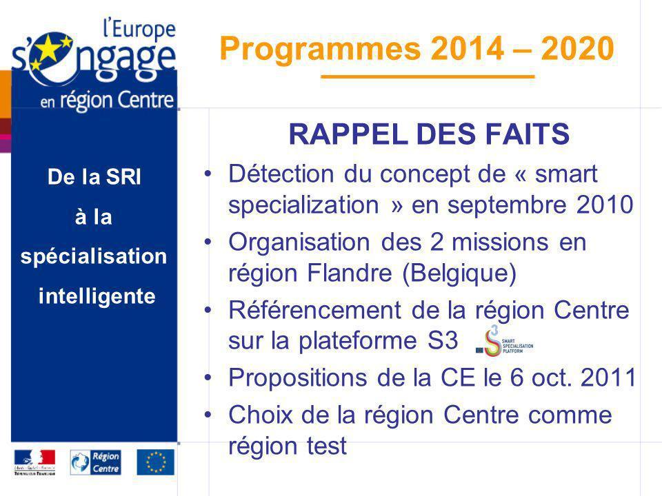 RAPPEL DES FAITS Détection du concept de « smart specialization » en septembre 2010. Organisation des 2 missions en région Flandre (Belgique)