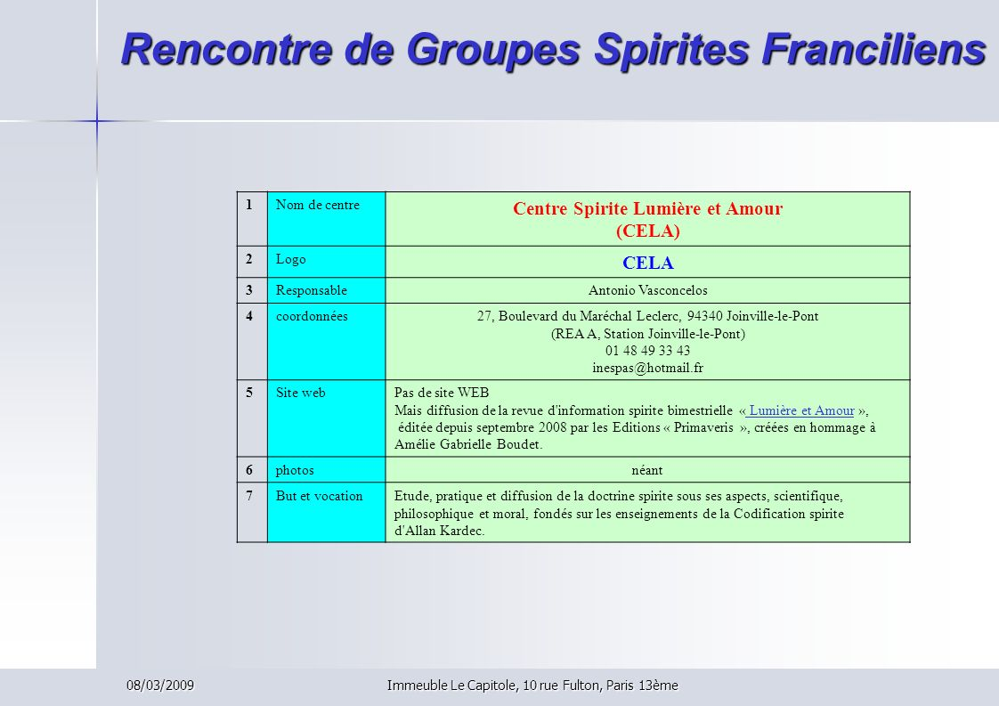 Rencontre de Groupes Spirites Franciliens