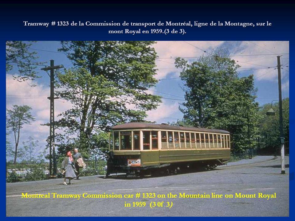 Tramway # 1323 de la Commission de transport de Montréal, ligne de la Montagne, sur le mont Royal en 1959.(3 de 3).