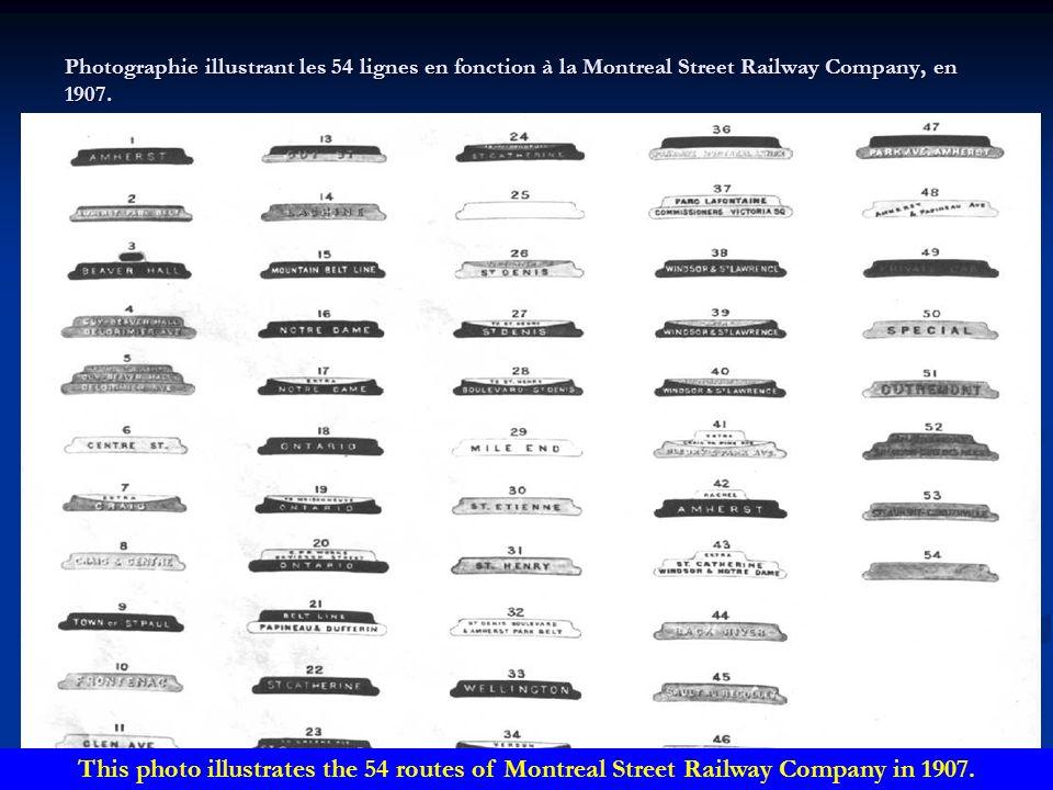 Photographie illustrant les 54 lignes en fonction à la Montreal Street Railway Company, en 1907.
