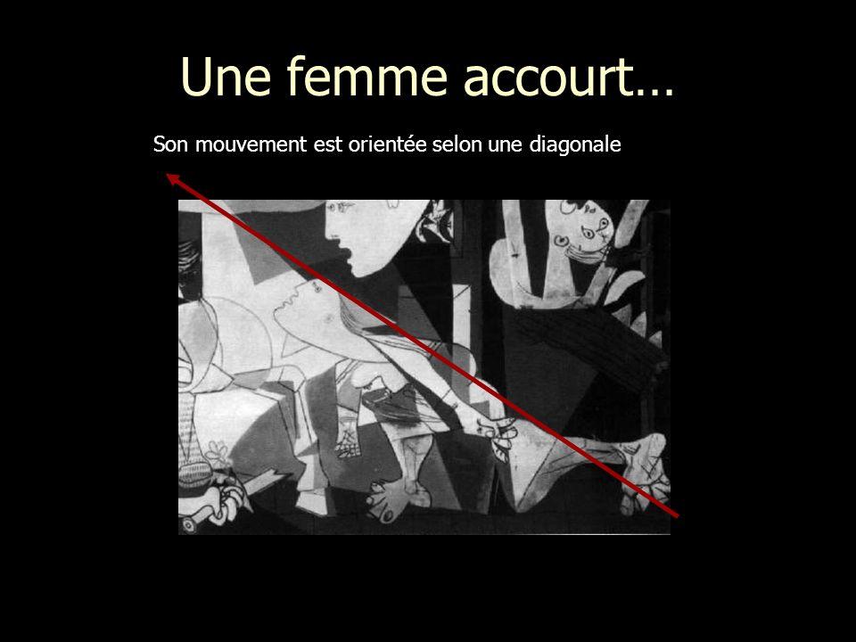 Une femme accourt… Son mouvement est orientée selon une diagonale