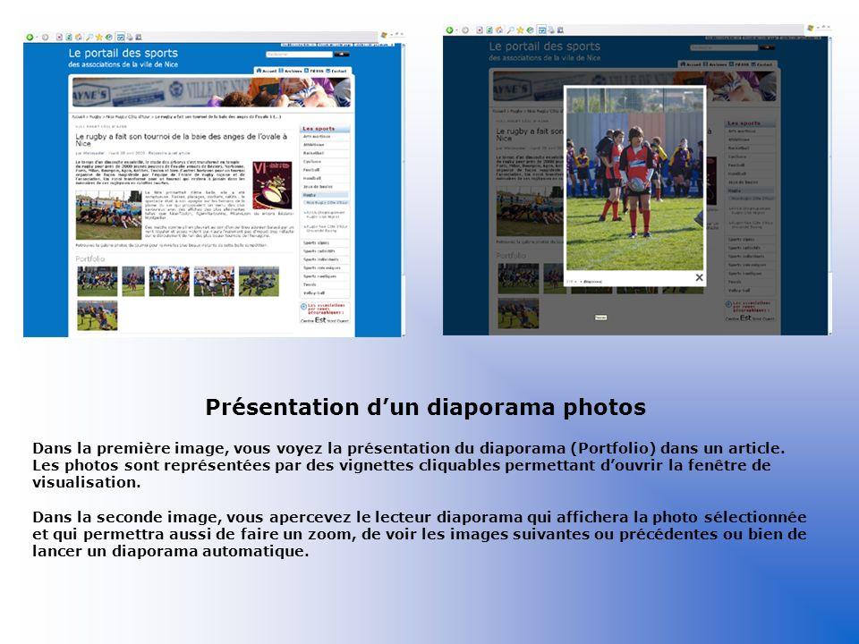 Présentation d'un diaporama photos