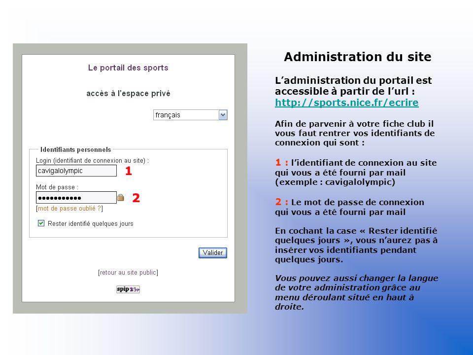 Administration du site