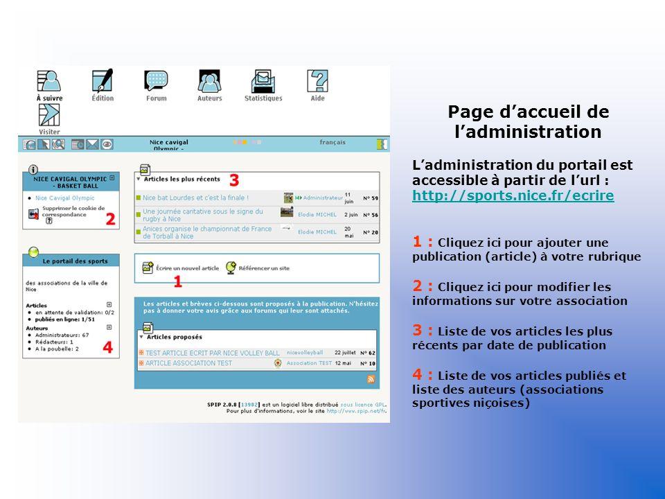 Page d'accueil de l'administration