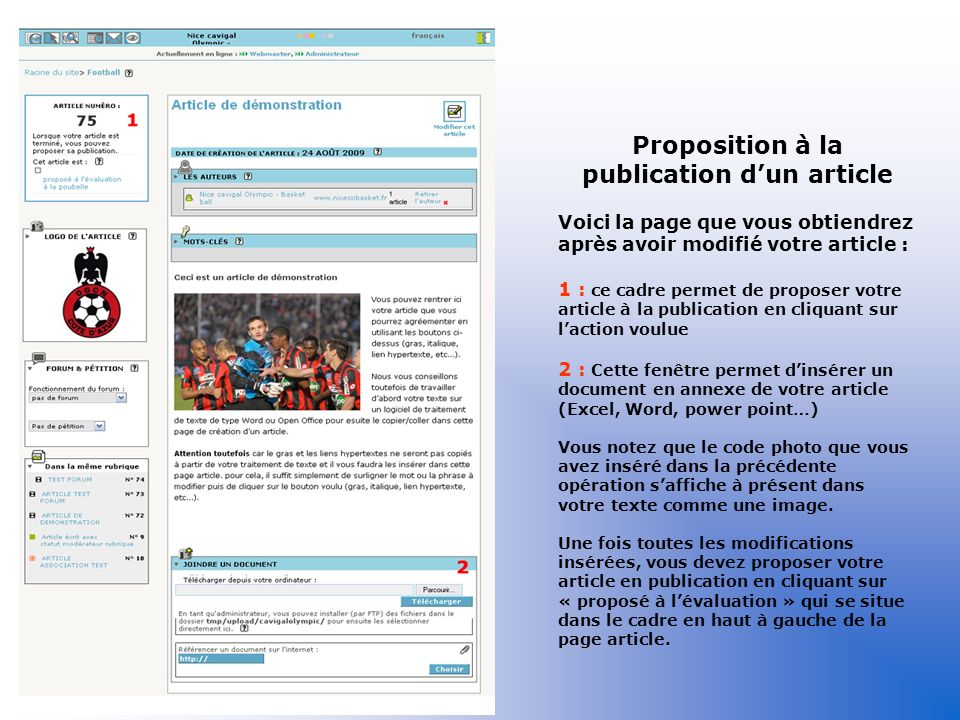 Proposition à la publication d'un article