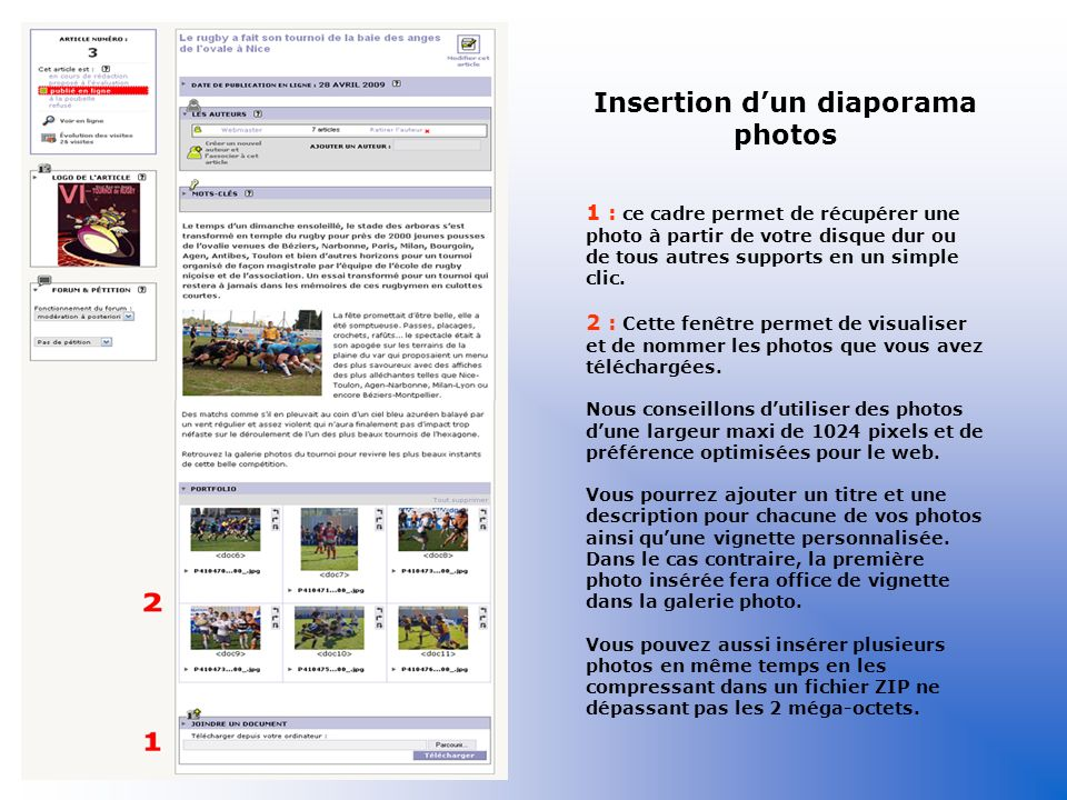 Insertion d'un diaporama photos