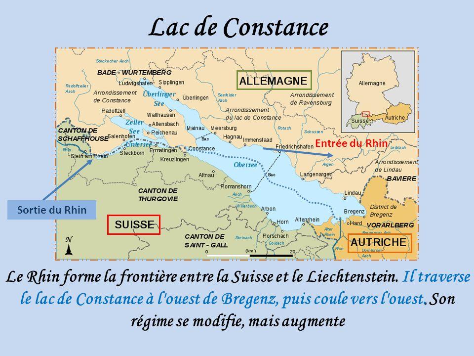 Lac de Constance Entrée du Rhin. Sortie du Rhin.