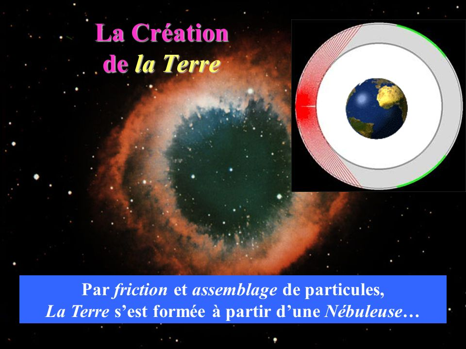 La Création de la Terre Par friction et assemblage de particules,