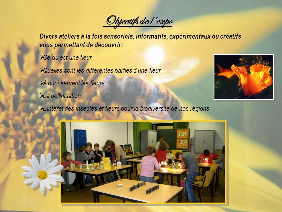Objectifs de l'expo Divers ateliers à la fois sensoriels, informatifs, expérimentaux ou créatifs vous permettant de découvrir: