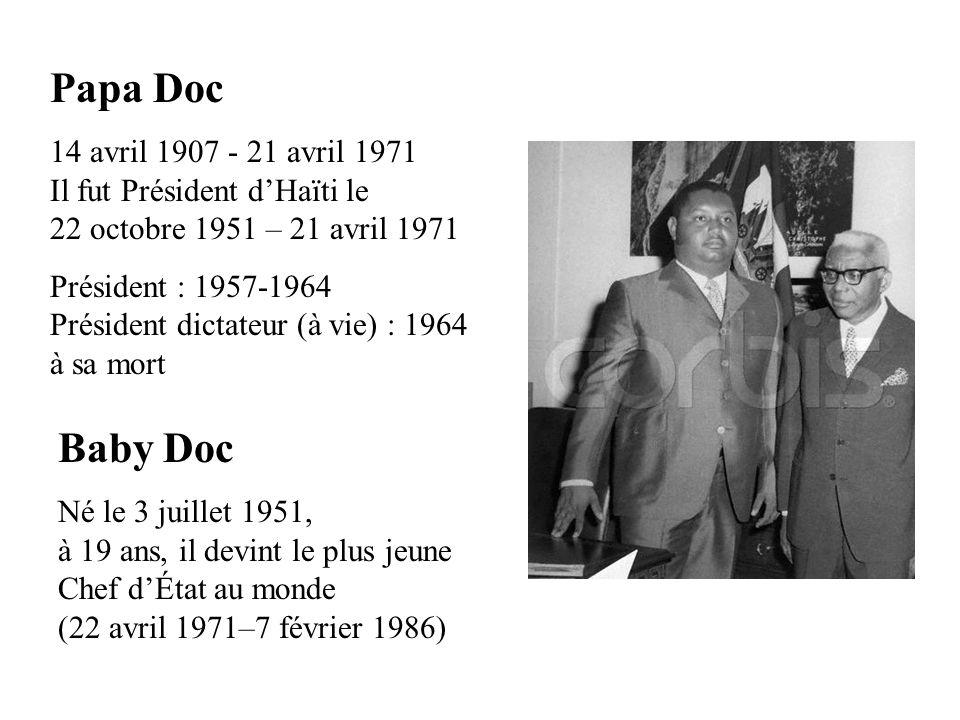 Papa Doc 14 avril 1907 - 21 avril 1971 Il fut Président d'Haïti le 22 octobre 1951 – 21 avril 1971.