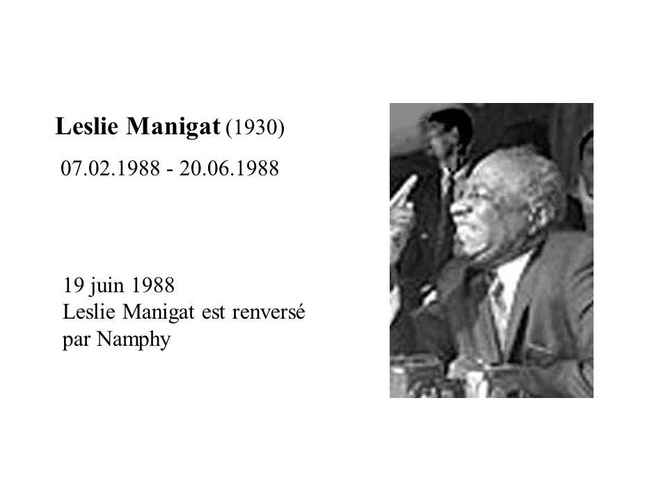 Leslie Manigat (1930) 07.02.1988 - 20.06.1988.