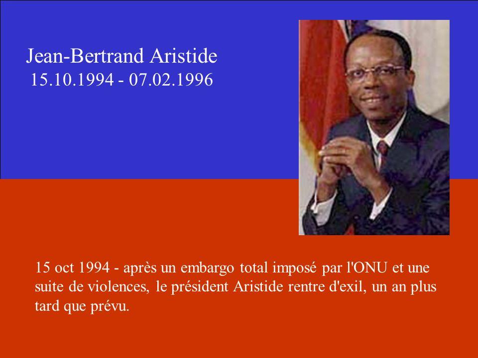 Jean-Bertrand Aristide 15.10.1994 - 07.02.1996