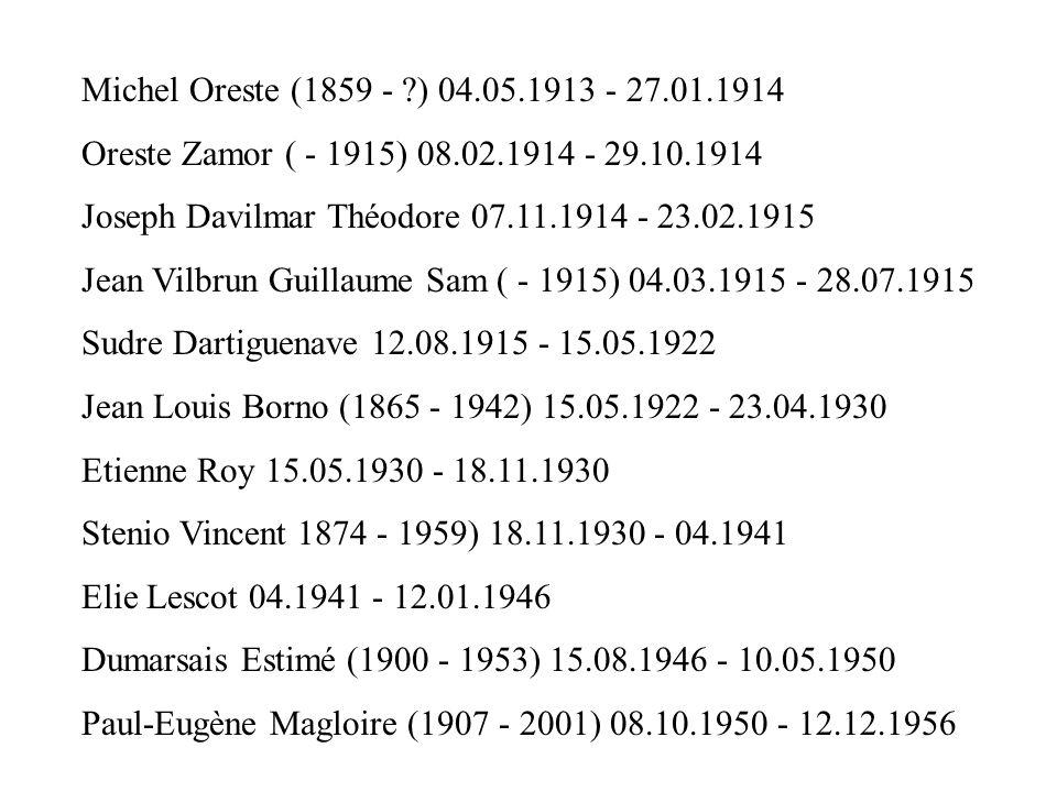 Michel Oreste (1859 - ) 04.05.1913 - 27.01.1914 Oreste Zamor ( - 1915) 08.02.1914 - 29.10.1914. Joseph Davilmar Théodore 07.11.1914 - 23.02.1915.
