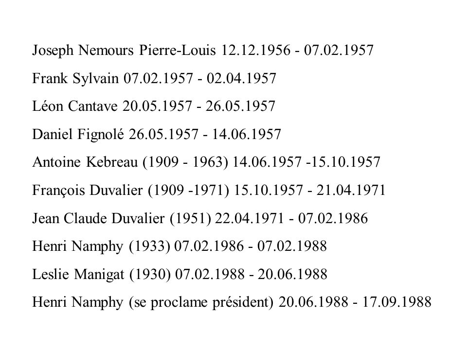 Joseph Nemours Pierre-Louis 12.12.1956 - 07.02.1957