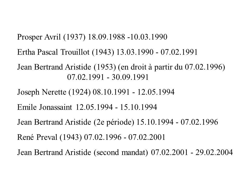 Prosper Avril (1937) 18.09.1988 -10.03.1990 Ertha Pascal Trouillot (1943) 13.03.1990 - 07.02.1991.