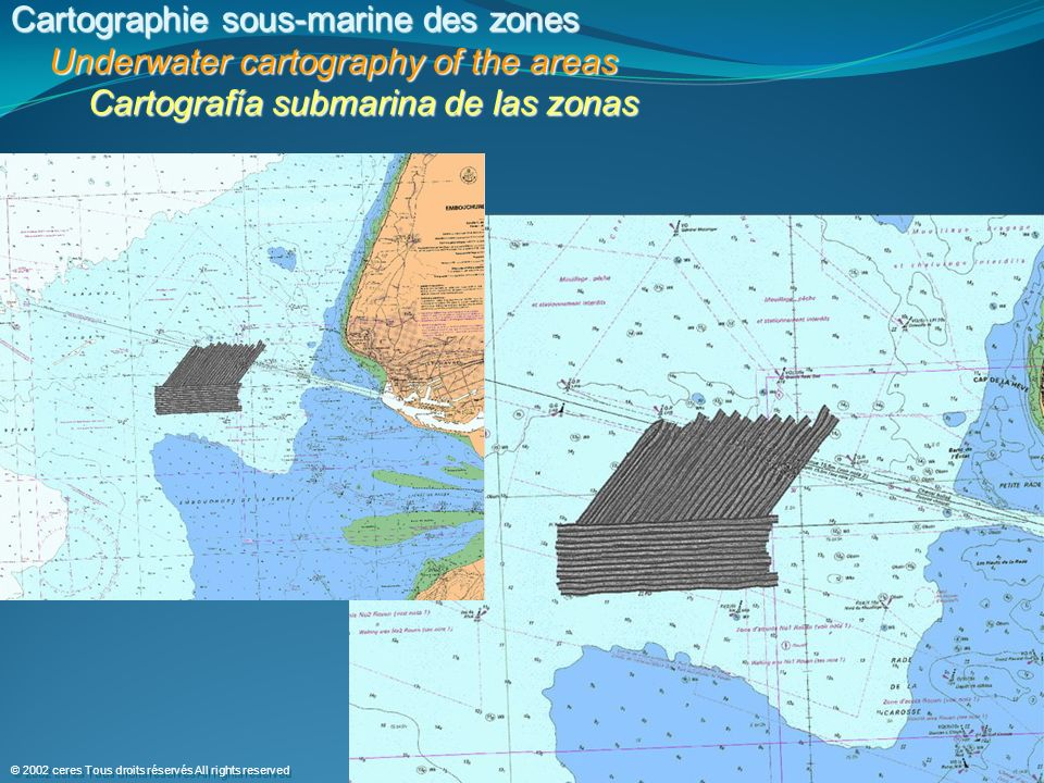 Cartographie sous-marine des zones Underwater cartography of the areas