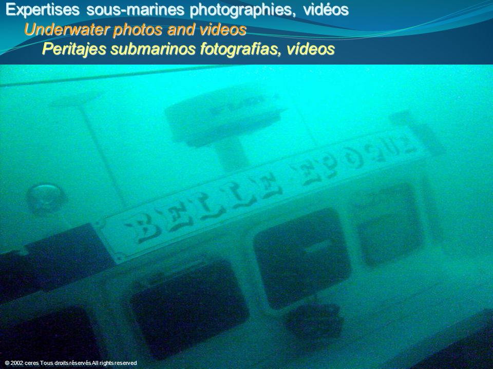 Expertises sous-marines photographies, vidéos