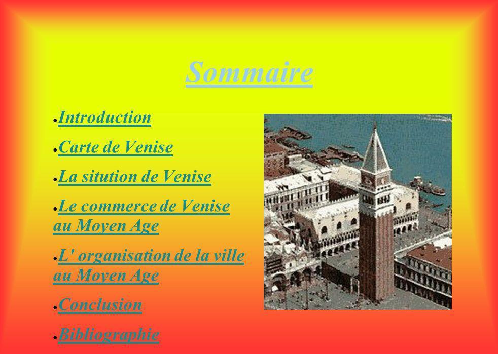 Sommaire Introduction Carte de Venise La sitution de Venise